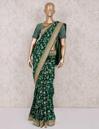 Green banarasi silk saree for wedding