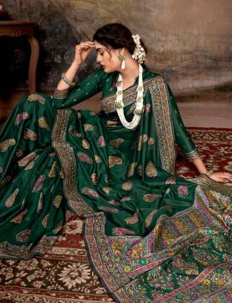 Green banarasi silk saree for wedding function with thread weaving