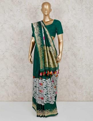 Green banarasi silk thread zari weaving saree