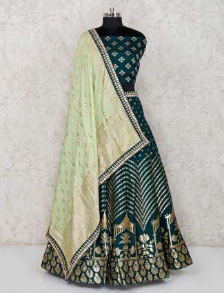 Green banarasi silk wedding semi stitched lehenga choli