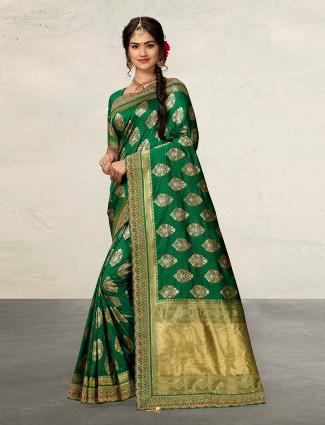 Green banarasi silk wedding wear saree