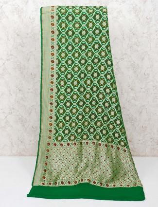 Green bandhej saree for wedding