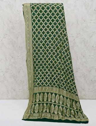 Green bandhej saree in printed design