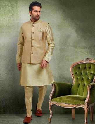 Green brocade raw silk waistcoat set