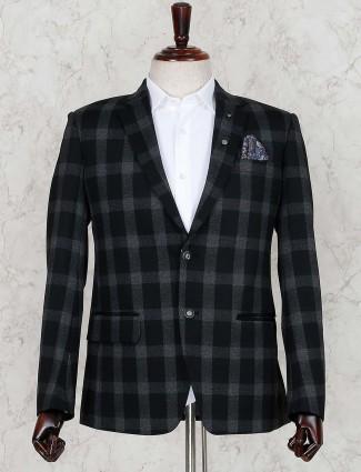 Green checks pattern terry rayon blazer