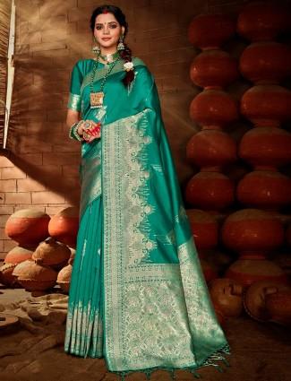 Green color banarasi silk saree for wedding wear