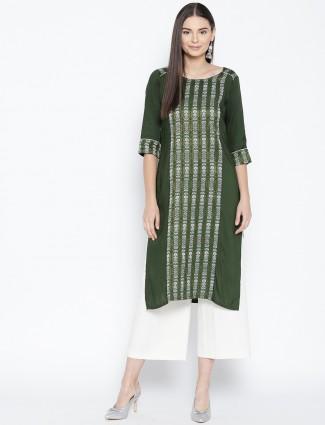 Green color casual round neck kurti