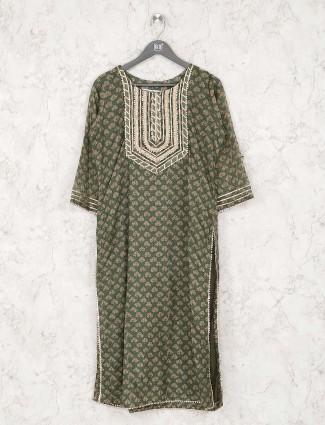 Green color cotton printed kurti