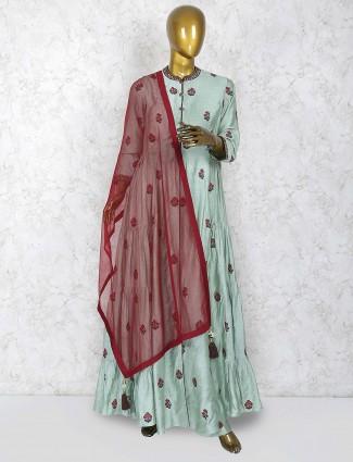 Green color cotton silk festive punjabi palazzo suit