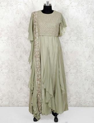 Green color cotton silk floor length designer anarkali salwar suit