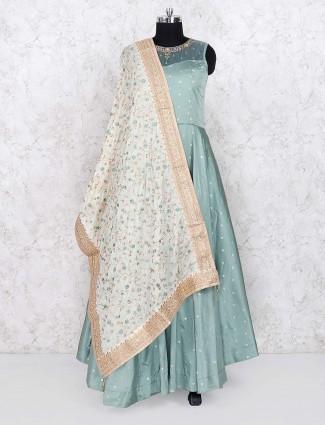 Green color cotton silk party wear floor length anarkali salwar suit