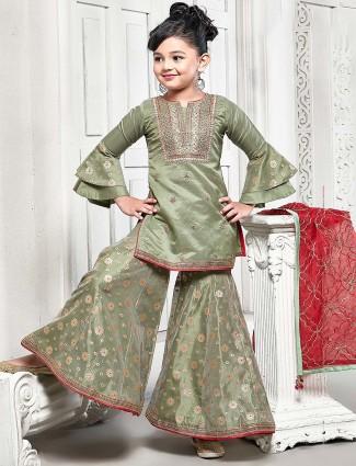 Green color cotton silk pretty punjabi sharara suit