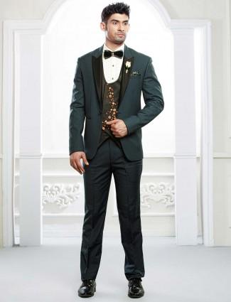Green color designer three piece wedding tuxedo suit