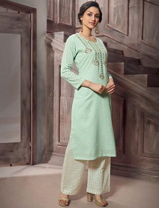 Green color festive cotton punjabi palazzo suit