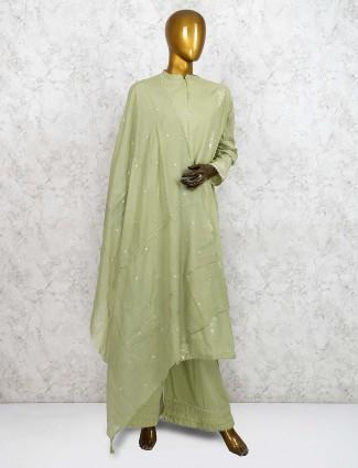 Green color festive punjabi palazzo suit