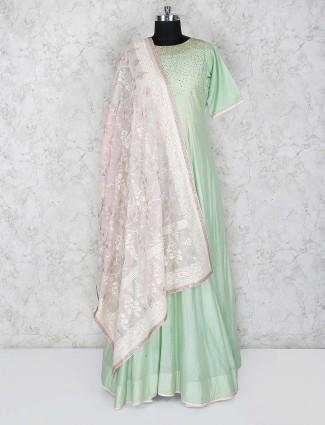 Green color festive wear cotton silk floor length anarkali salwar suit
