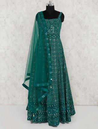 Green color georgette floor length anarkali salwar suit