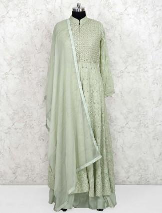 Green color georgette party lehenga cum salwar suit