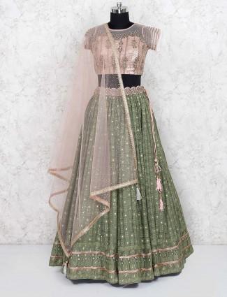 Green color georgette wedding lehenga choli