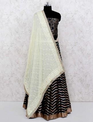 Green color gorgeous cotton silk semi stitched lehenga choli