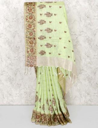 Green color gorgeous linen saree