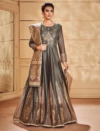 Green color gorgeous round neck anrkali salwar suit