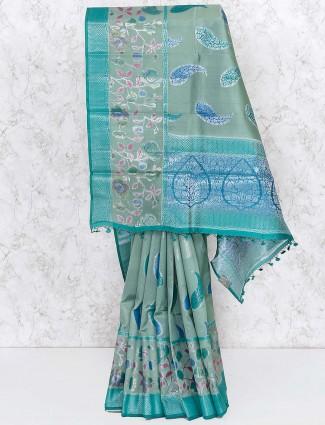 Green color gorgeous saree in banarasi silk