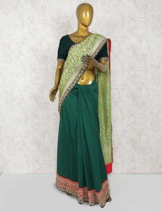 Green color half and half saree in banarasi silk