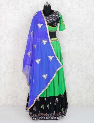 Green color lehenga choli in cotton fabric