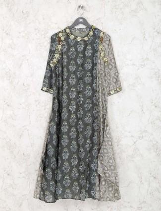 Green color printed cotton kurti