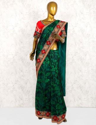 Green color pure silk beautiful saree
