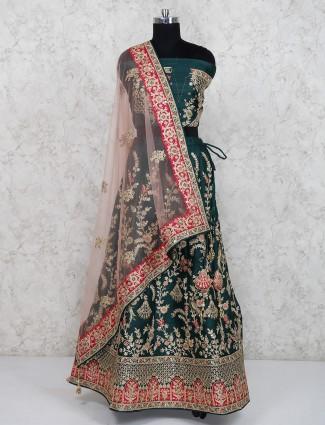 Green color raw silk designer semi stitched lehenga choli
