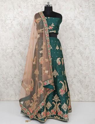 Green color raw silk semi stitched bridal lehenga choli