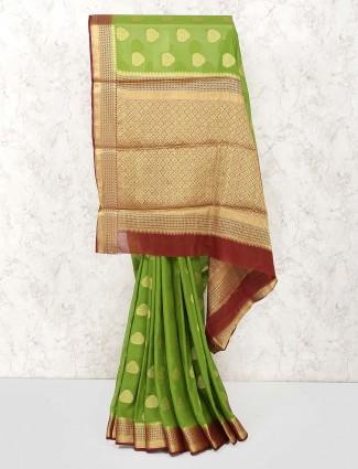 Green color wedding wear gorgette saree