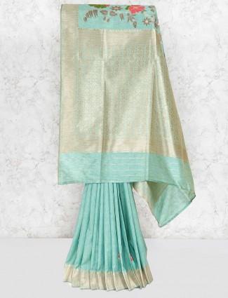 Green color wonderful banarasi semi silk saree