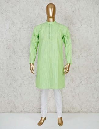 Green cotton classic kurta suit
