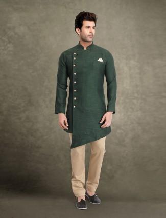 Green cotton classic welt pocket kurta suit