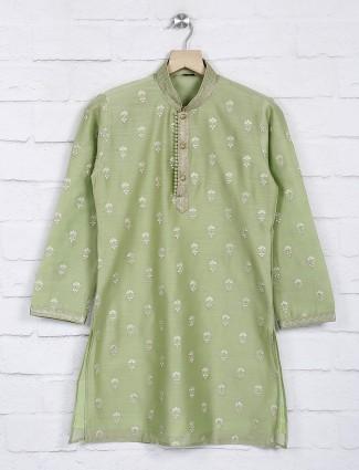 Green cotton fabric festive function kurta suit