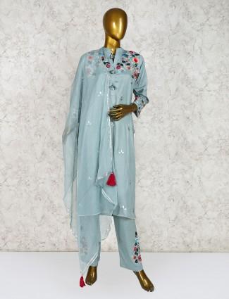 Green cotton festive punjabi salwar suit