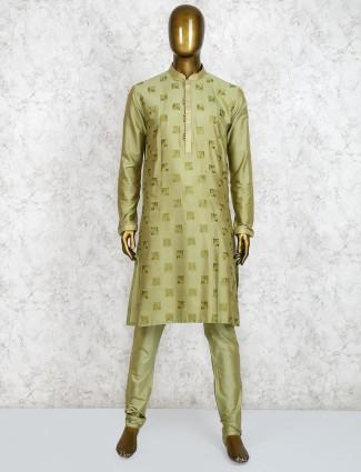 Green cotton festive wear cotton kurta suit