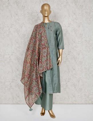 Green cotton punjabi palazzo salwar suit