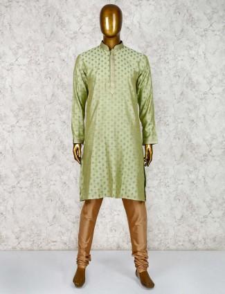 Green cotton silk classic kurta suit