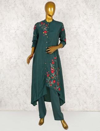 Green cotton silk designer punjabi salwar suit