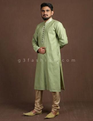 Green cotton silk festive kurta suit