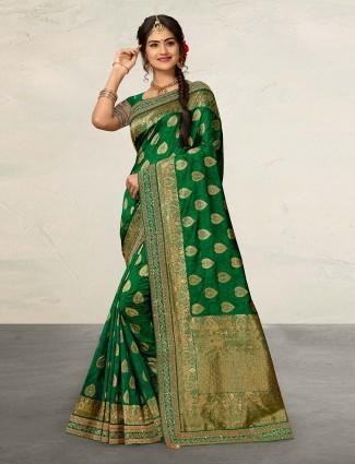 Green cotton silk festive or wedding saree