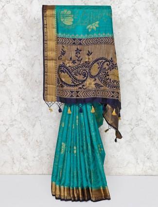 Green cotton silk festive sari