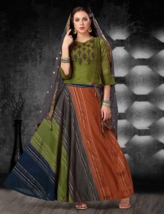 Green cotton silk festive wear lehenga choli