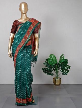 Green cotton silk festive wear sari