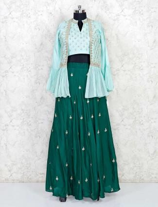 Green cotton silk jecket style lehenga suit