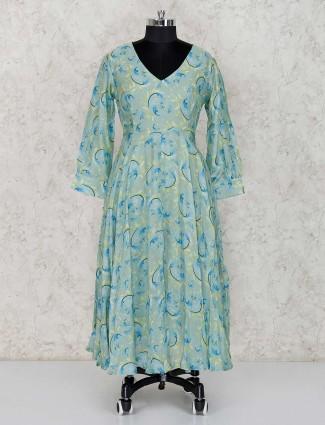 Green cotton silk printed salwar suit